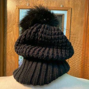 Black Pom Beanie with Veil